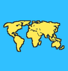 Yellow and blue map with black contour vector