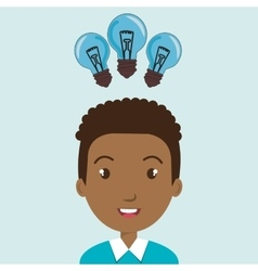 Child student idea bulb vector