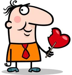 man wit valentine hearth lollipop cartoon vector image