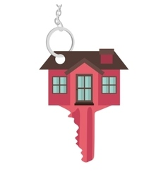 Silhouette key red color with shape house vector