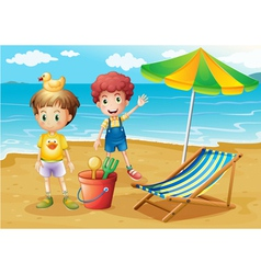 Kids at the beach with an umbrella and a foldable vector image