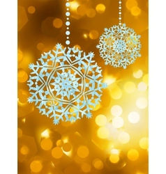 Winter golden abstract with snowflakes eps 8 vector