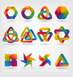 Abstract symbol set in rainbow colors vector