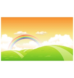 Green landscape with a rainbow in the background vector image