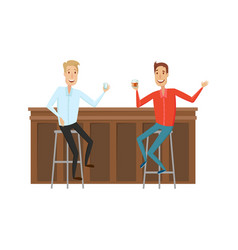 Meet and discuss at the bar with good friends flat vector