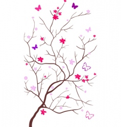 oriental cherry with butterflies vector image