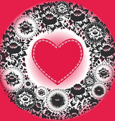Pink hearts and black flowers greeting card vector