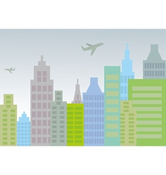 City with planes vector
