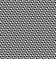 Black and white seamless wave pattern vector