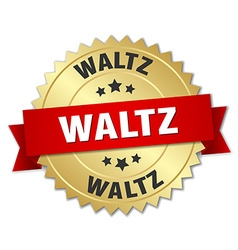 Waltz 3d gold badge with red ribbon vector