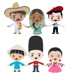 Multicultural children holding hands vector