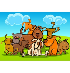 Cartoon group of cute dogs vector