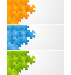 Abstract puzzle banners vector image
