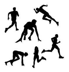 black silhouette of a runner athlete on a white vector image