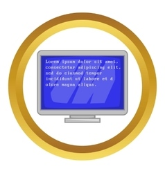 Blue computer screen with text icon vector