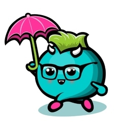 Blue monster with under rain vector