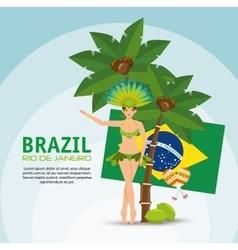 brazil rio de janeiro poster garota flag coconut vector image