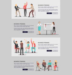 business training set of web posters with people vector image