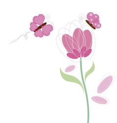 Butterfly and flower design vector
