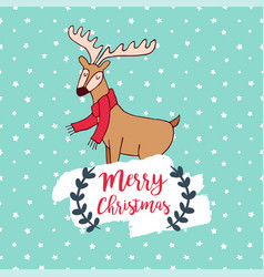 christmas cute winter deer doodle greeting card vector image