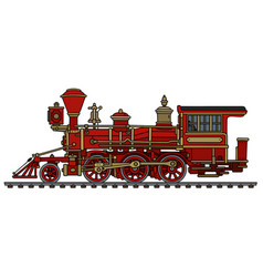classic red wild west steam locomotive vector image vector image