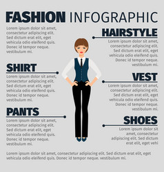 Fashion infographic with girl manager vector