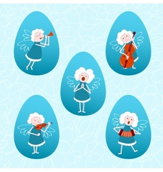 Five musical angels vector image