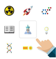 Flat icon knowledge set of chemical spaceship vector
