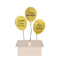 Gold balloon card vector