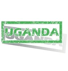Green outlined uganda stamp vector