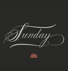 Hand drawn lettering sunday elegant vector