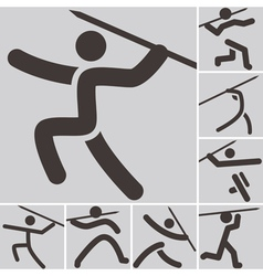 Javelin throw icons vector