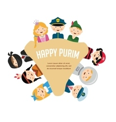 Kids wearing different costumes happy purim in vector