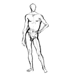 man position sketch vector image
