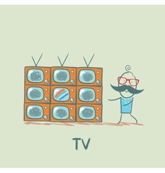 man watching the best TV vector image vector image