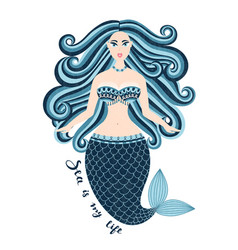 Mermaid hand drawn sea girl woman with tail vector