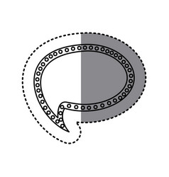 monochrome sticker of cloud speech with tail and vector image vector image