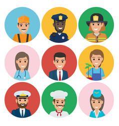 people of different professions set of round icons vector image