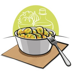 potato salad with parsley and dill vector image vector image
