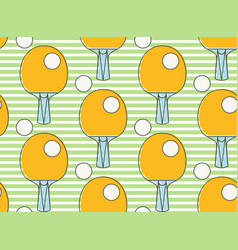 seamless pattern ping pong racket league table vector image