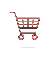 simple red shopping cart with shadow vector image vector image