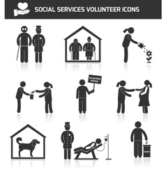 Social services icons set black vector image