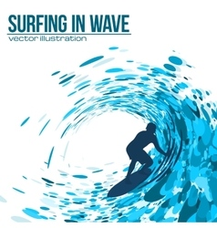 Surfer silhouette in blue wave vector