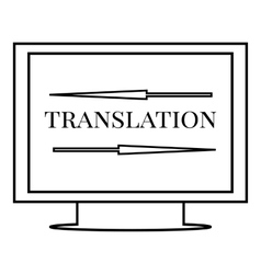 Translation on monitor icon outline style vector