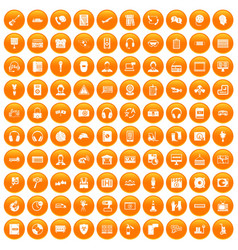 100 headphones icons set orange vector image vector image