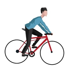 Man riding bike icon vector