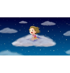 A girl flying on mat vector