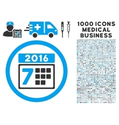 2016 week calendar icon with 1000 medical business vector