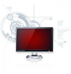 Red monitor vector