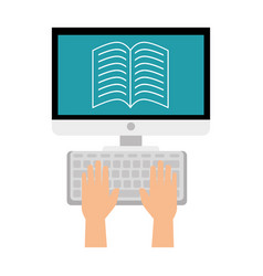 Computer desktop with ebook isolated icon vector